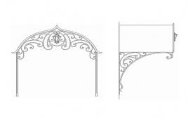 Козырек кованый эскиз: экк-812